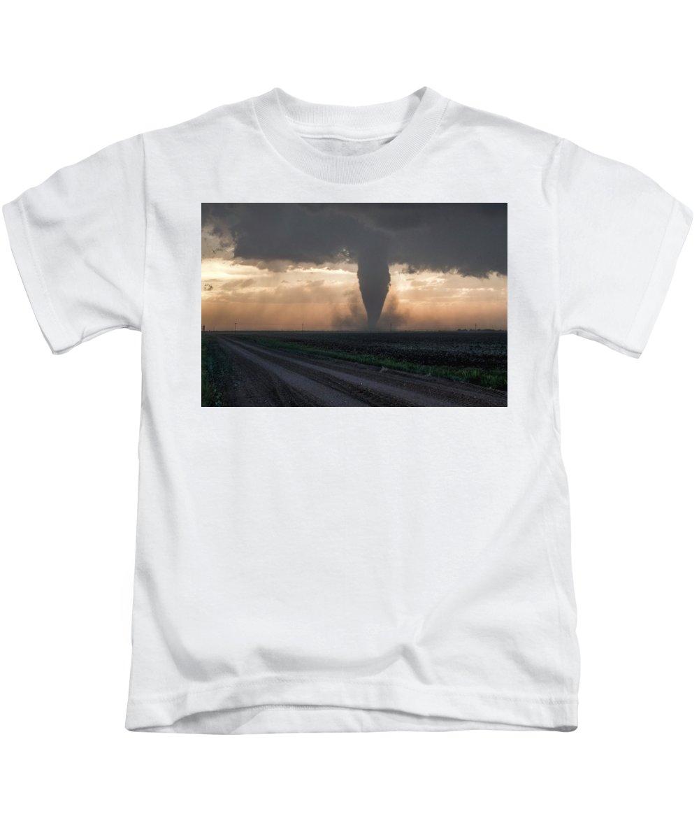 Tornado Kids T-Shirt featuring the photograph Destruction Lays Waste At Evening by Eugene Thieszen