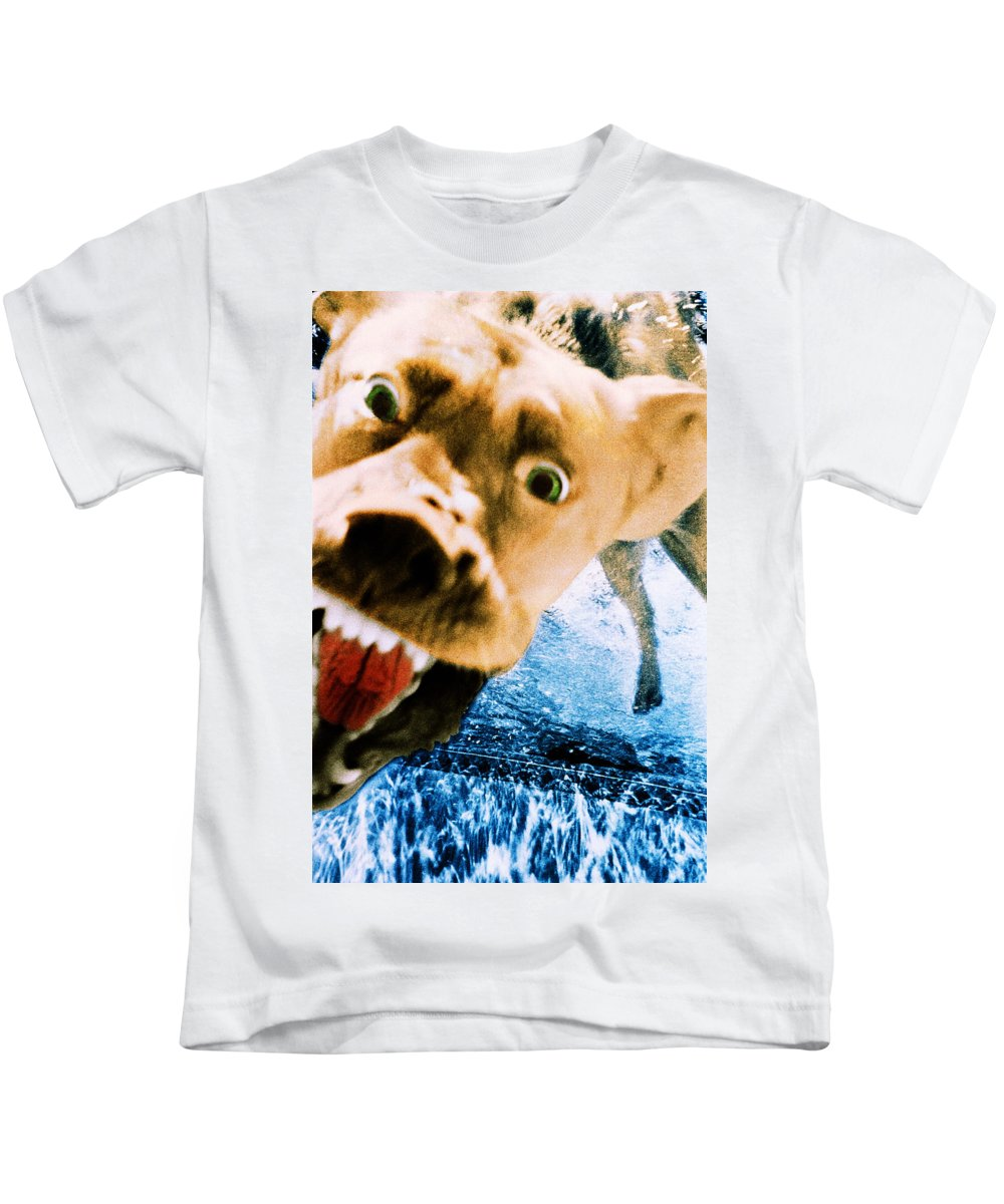 Dog Kids T-Shirt featuring the photograph Devil Dog Underwater by Jill Reger