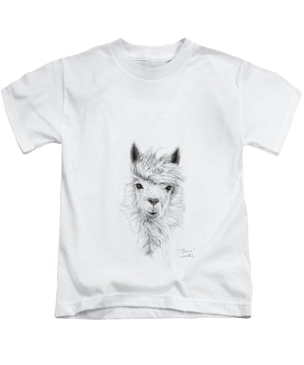 Llama Art Kids T-Shirt featuring the drawing Diane by K Llamas