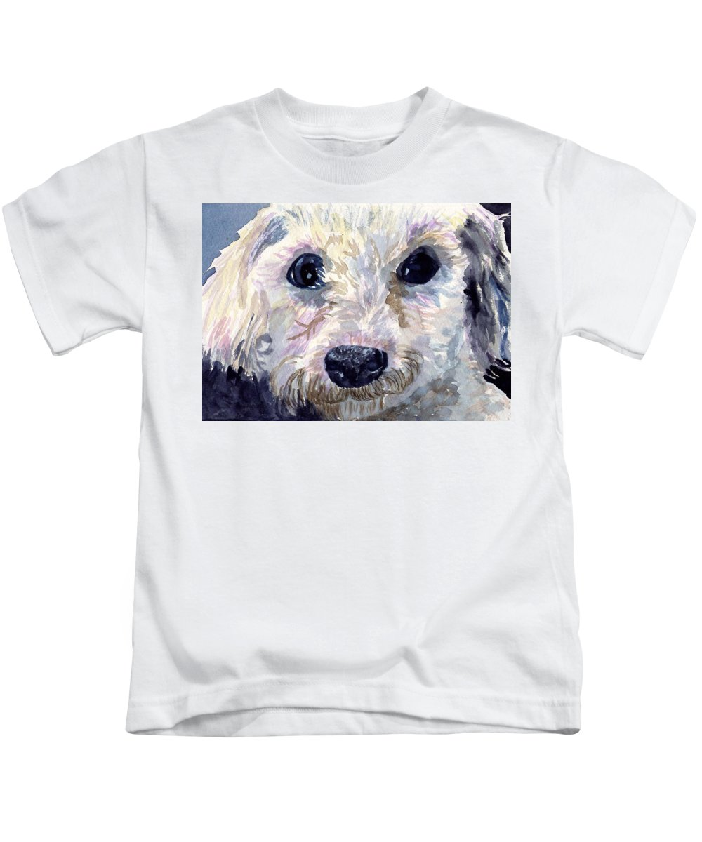 Bichon Frise Kids T-Shirt featuring the painting Did You Say Lunch by Sharon E Allen