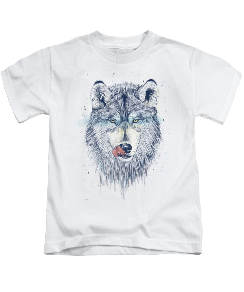 Animal Kids T-Shirt featuring the drawing Dinner time by Balazs Solti