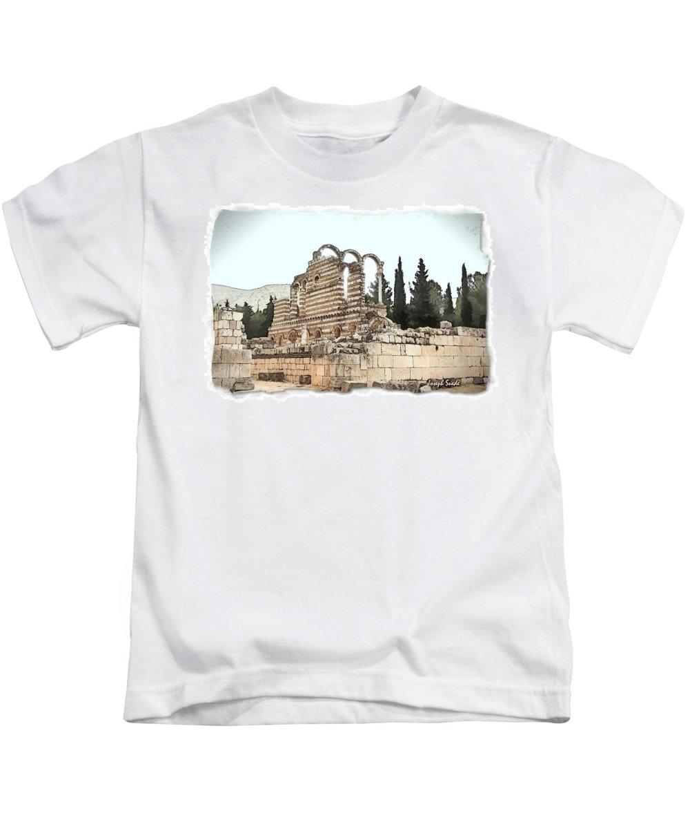 Ancient Kids T-Shirt featuring the photograph Do-00306 Old Ruins In Anjar by Digital Oil
