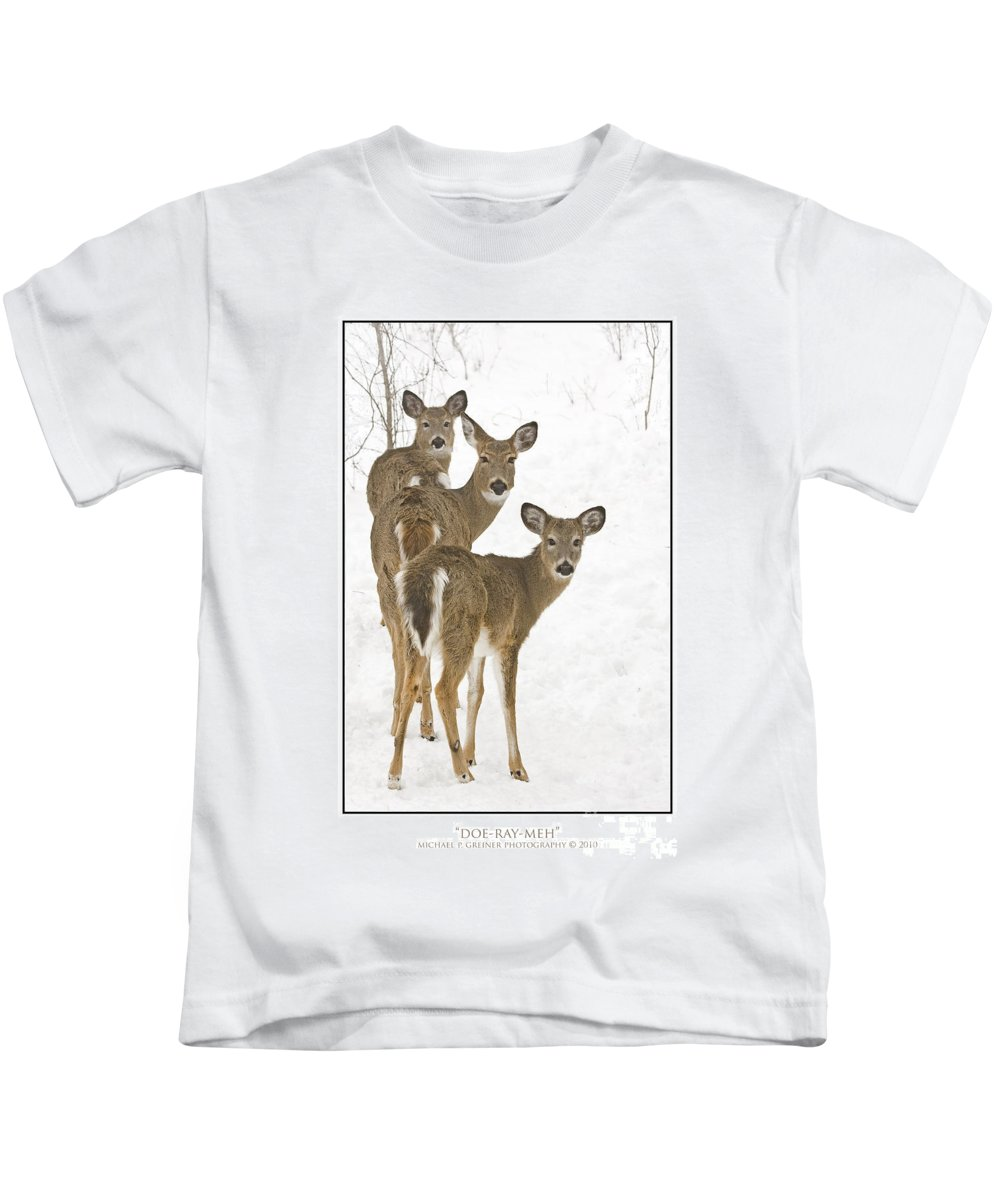 Whitetail Deer Kids T-Shirt featuring the photograph Doe-Ray-Meh by Michael Greiner
