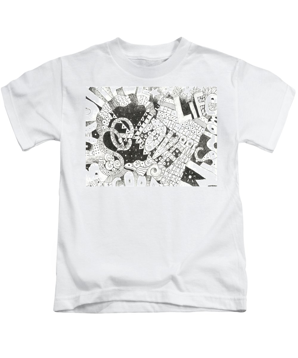 Words Kids T-Shirt featuring the drawing Does It Come With Instructions by Helena Tiainen