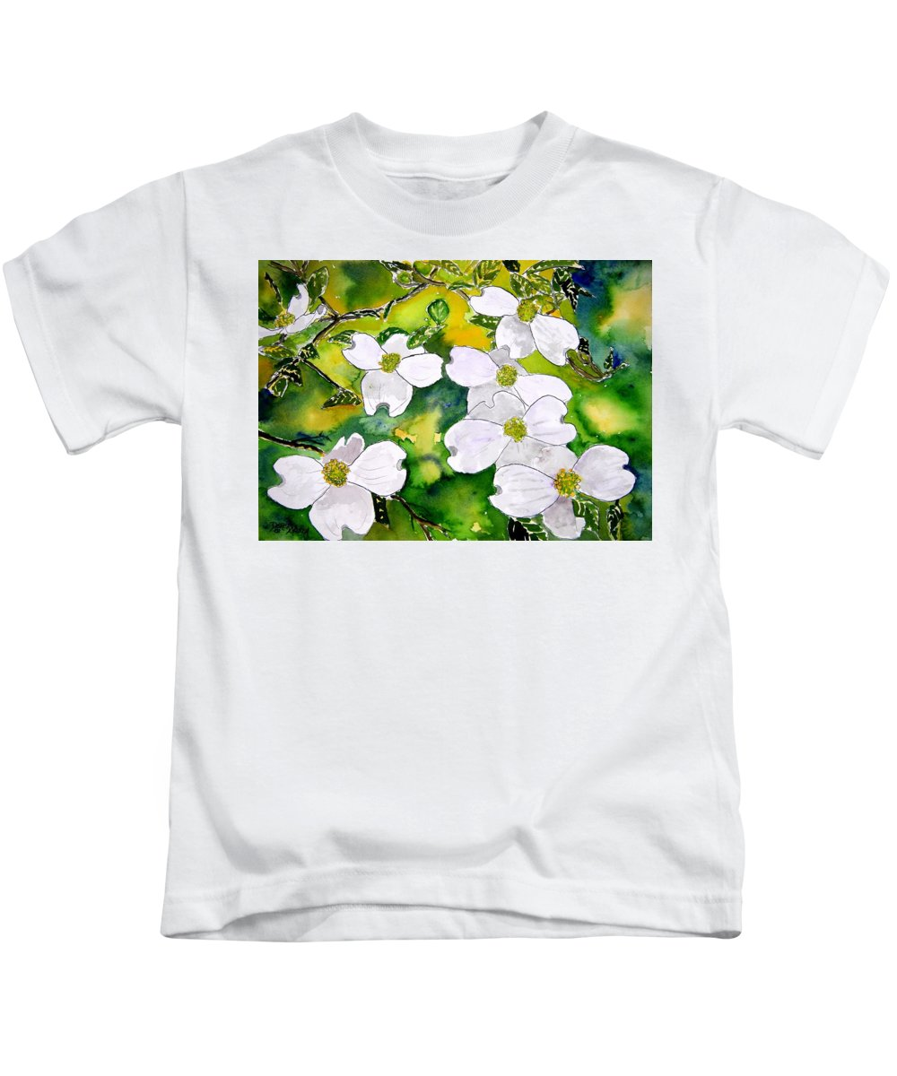 Dogwood Kids T-Shirt featuring the painting Dogwood Tree Flowers by Derek Mccrea
