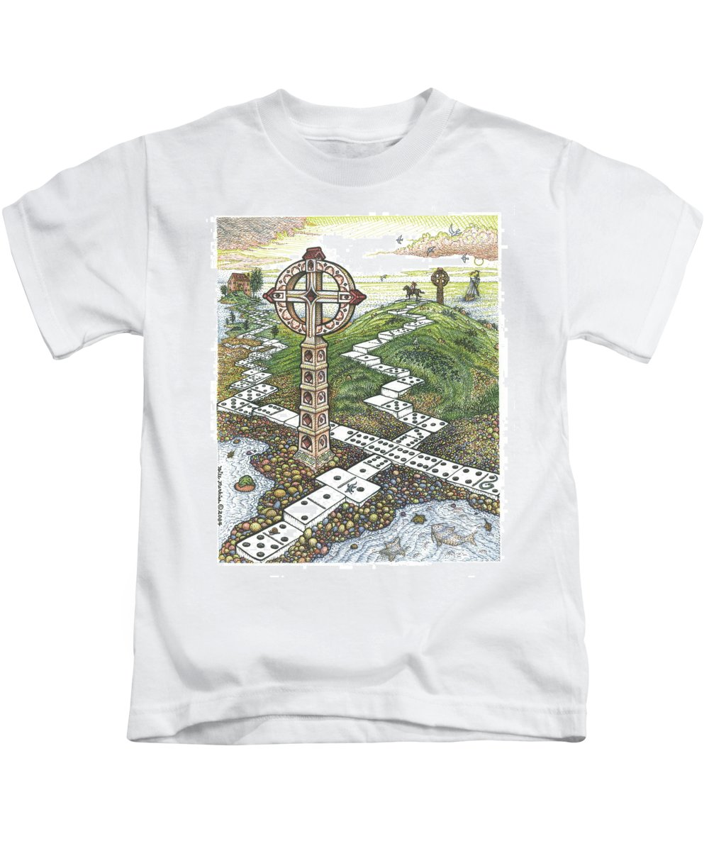 Landscape Kids T-Shirt featuring the drawing Domino Crosses by Bill Perkins