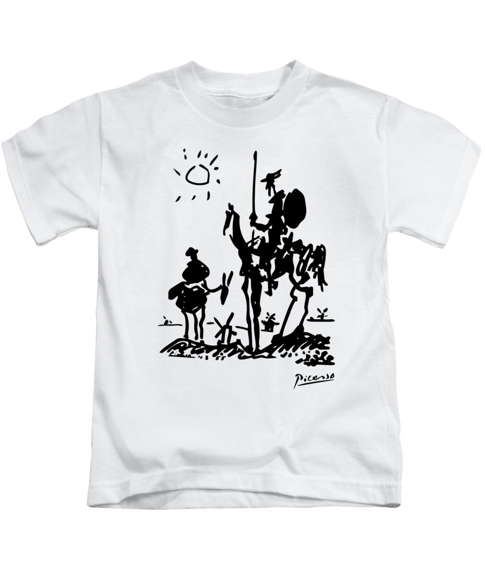Anti War Paintings Kids T-Shirt featuring the painting Don Quixote - 1955 Artwork Reproduction by Art-O-Rama Shop