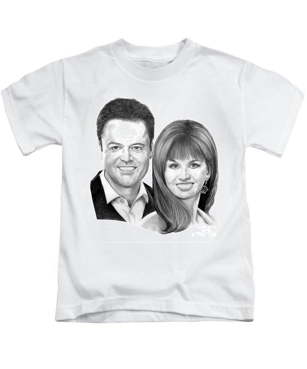Osmonds Kids T-Shirt featuring the drawing Donnie And Marie Osmond by Murphy Elliott