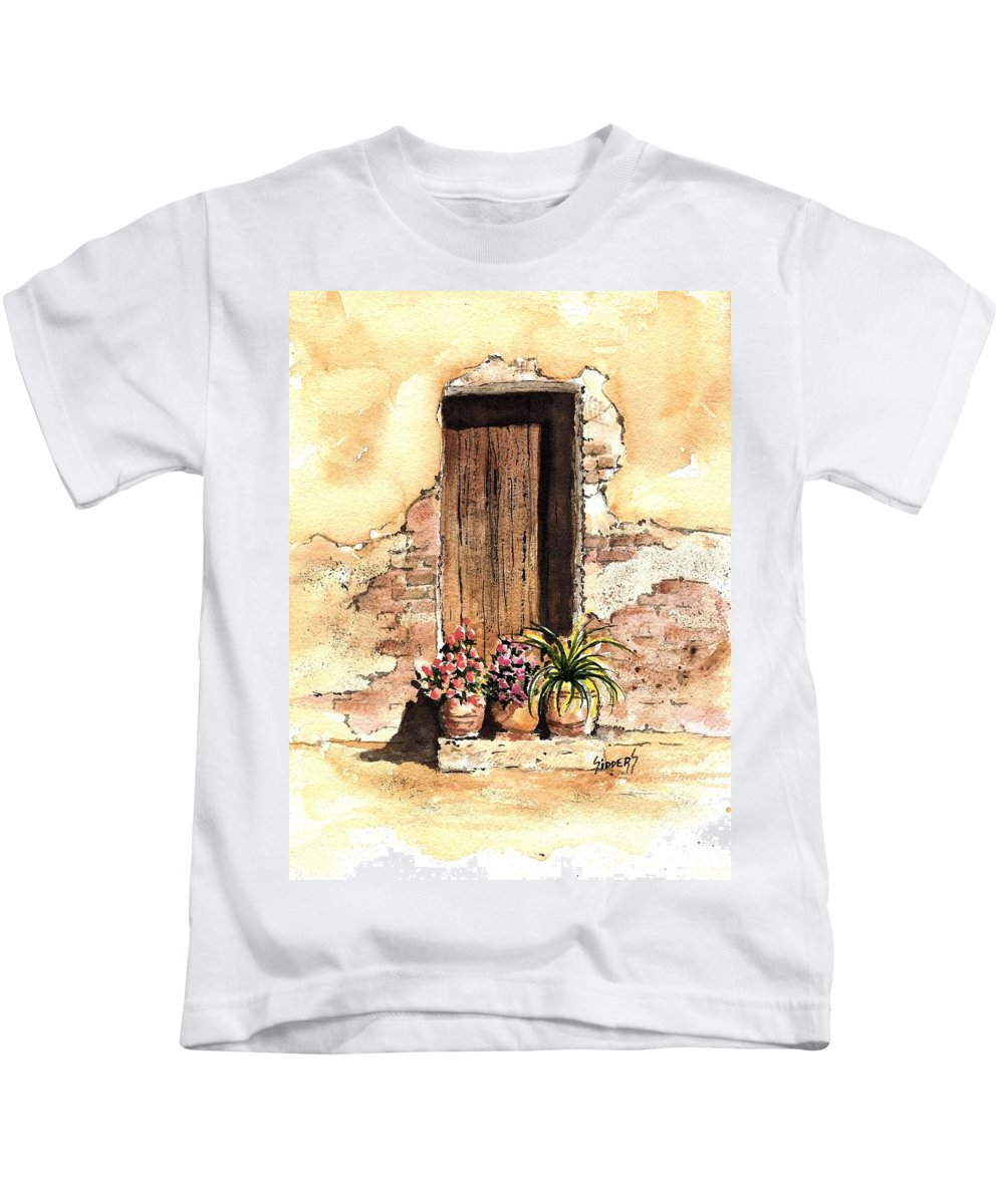 Door Kids T-Shirt featuring the painting Door With Flowers by Sam Sidders