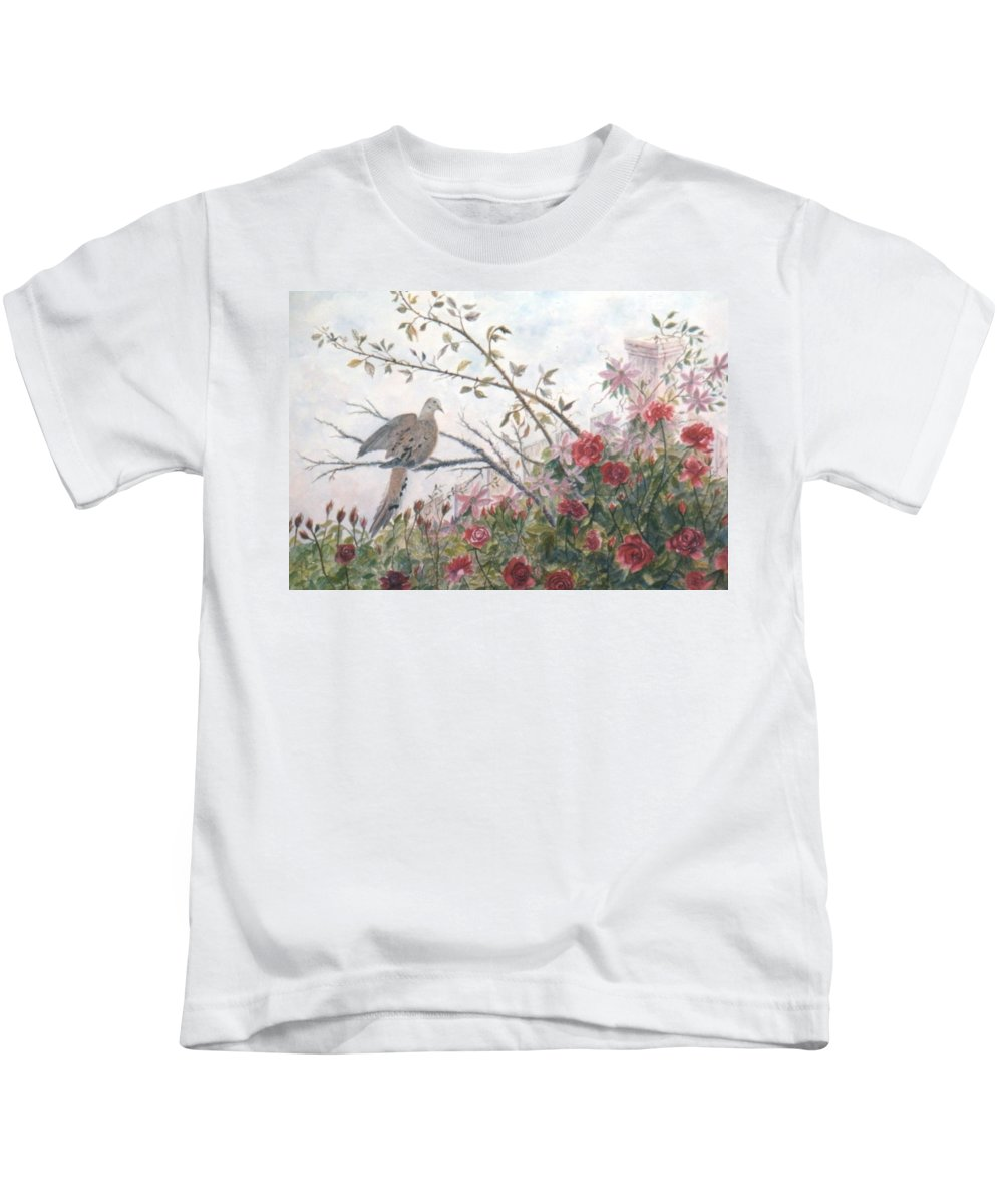 Dove; Roses Kids T-Shirt featuring the painting Dove and Roses by Ben Kiger