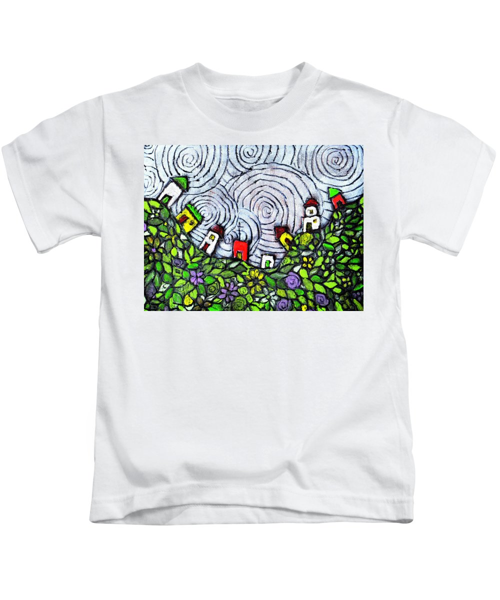 Folk Art Kids T-Shirt featuring the painting Down In The Valley by Wayne Potrafka