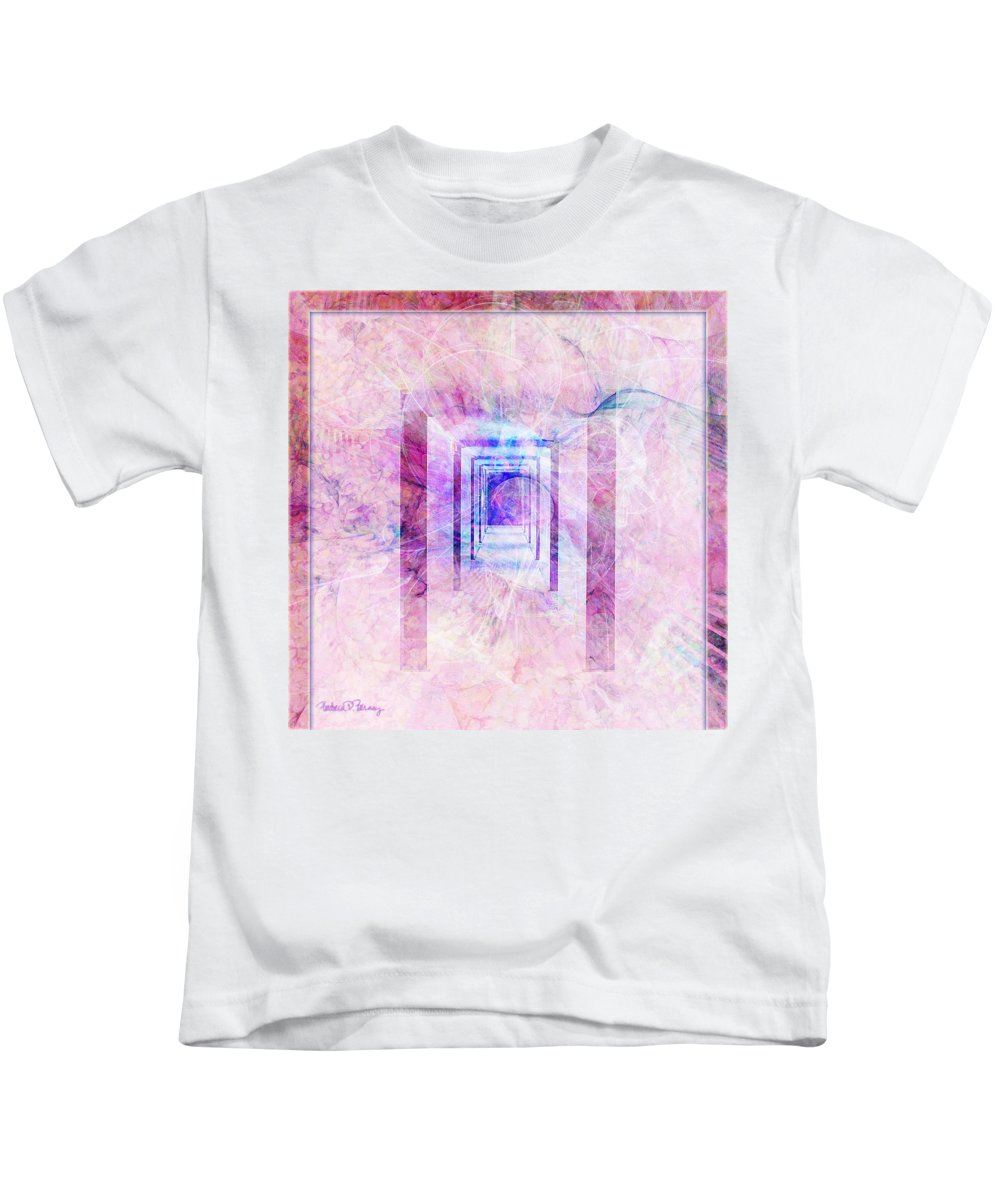 Pink Kids T-Shirt featuring the digital art Down The Hall by Barbara Berney