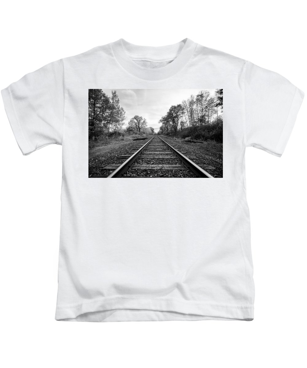 Kids T-Shirt featuring the photograph Down The Tracks by Joel Rood