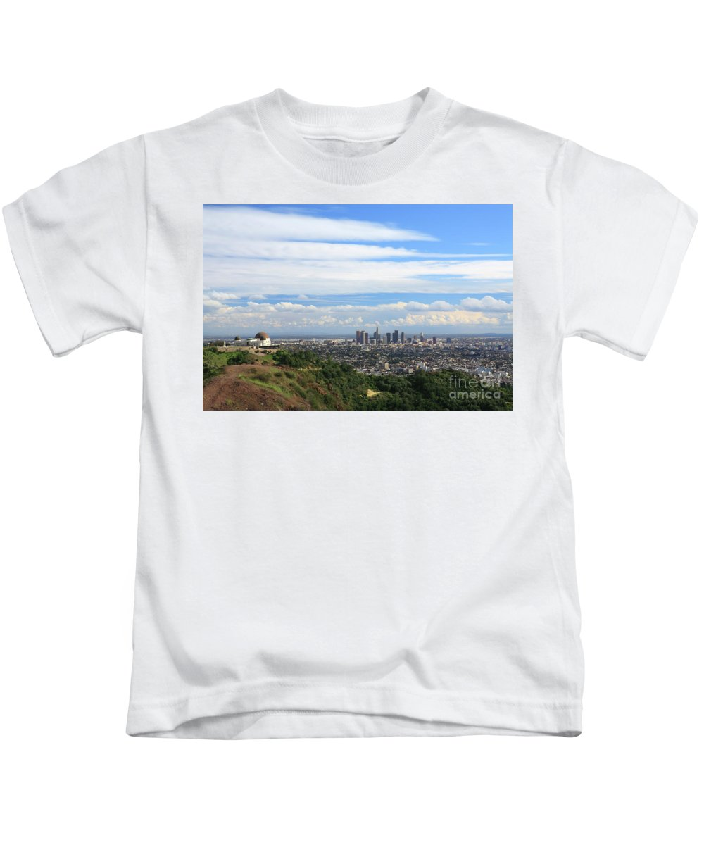 Los Angeles Kids T-Shirt featuring the photograph Downtown Los Angeles by Nicholas Burningham