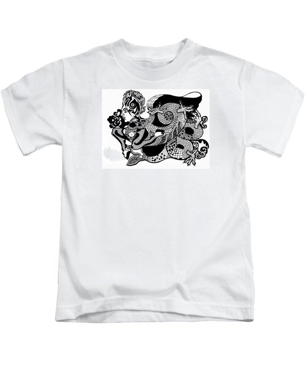 Fantasy Kids T-Shirt featuring the drawing Dragon Lady by Yelena Tylkina