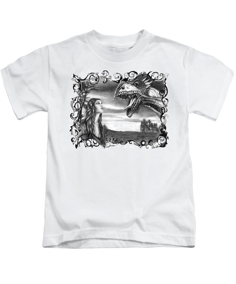 Dragon Whisperer Kids T-Shirt featuring the drawing Dragon Whisperer by Peter Piatt