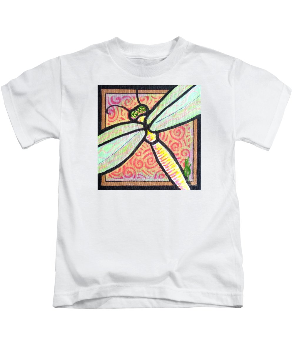 Dragonfly Kids T-Shirt featuring the painting Dragonfly Fantasy 3 by Jim Harris