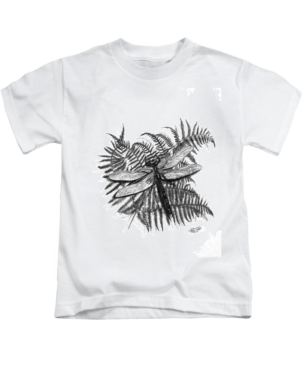 Dragonfly Kids T-Shirt featuring the drawing Dragonfly by Peter Piatt