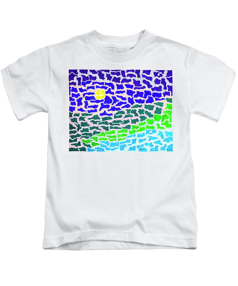 Mazes Kids T-Shirt featuring the drawing Dream Scape by Steven Natanson