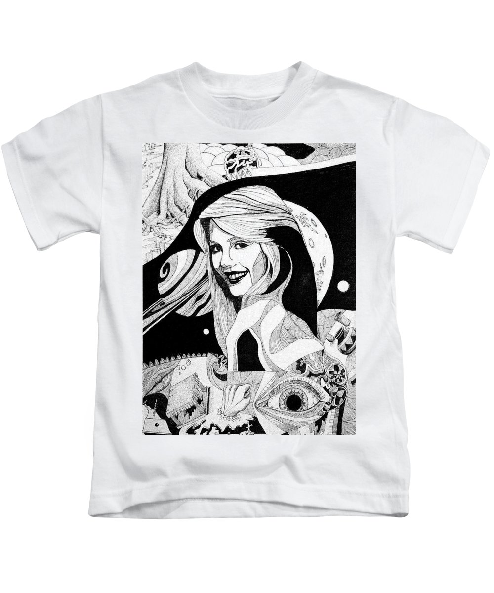 Woman Kids T-Shirt featuring the drawing Dreams by Shaun McNicholas