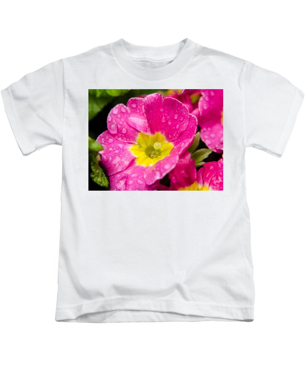 Flower Kids T-Shirt featuring the photograph Droplets On Flower by Arun Rohila