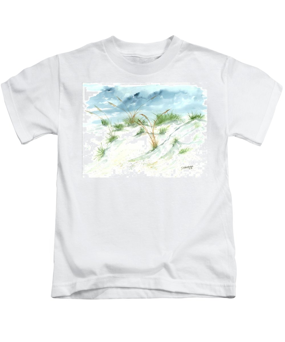Beach Kids T-Shirt featuring the painting Dunes 3 Seascape Beach Painting Print by Derek Mccrea