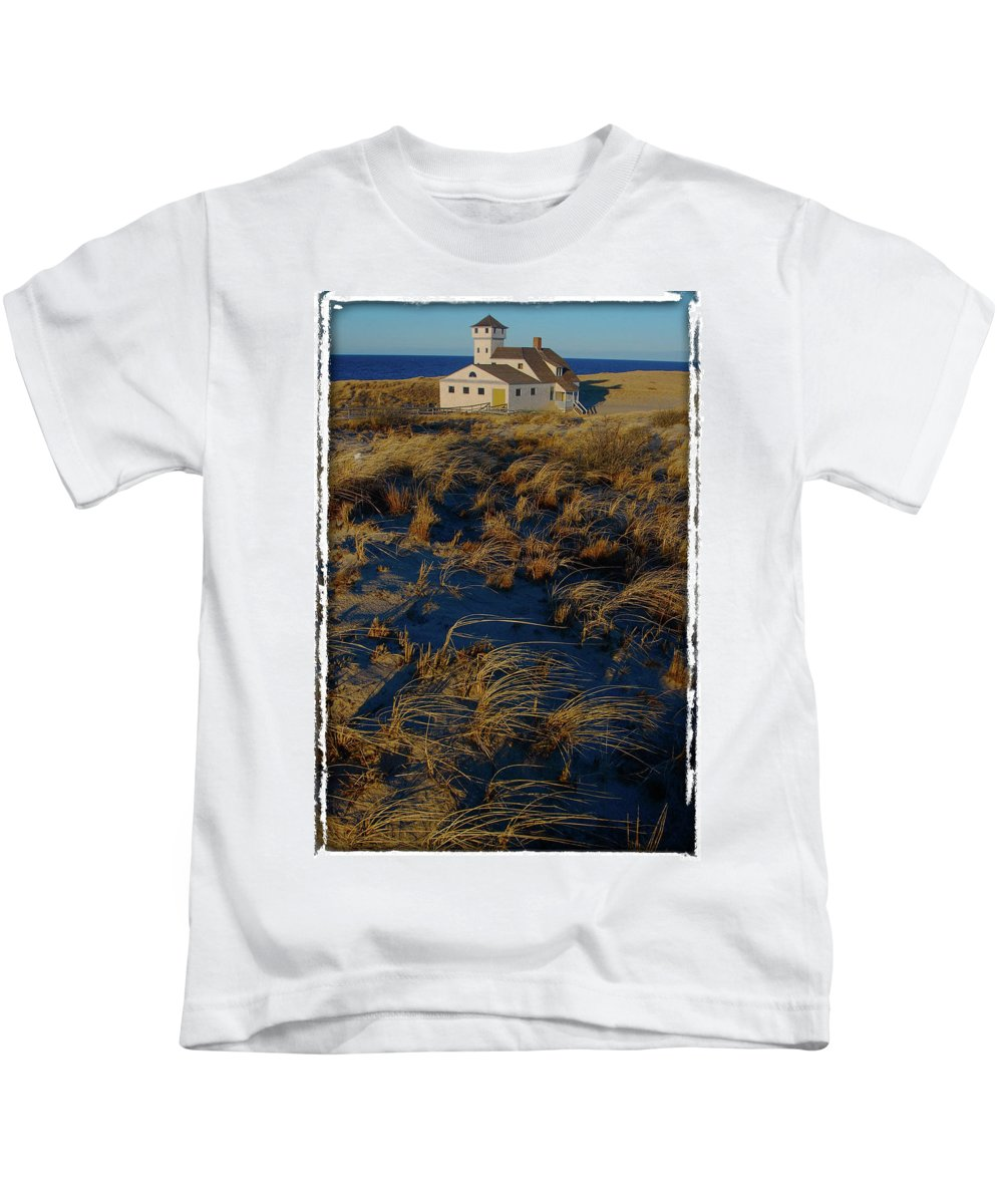 Providence Town Kids T-Shirt featuring the photograph Dunes And Beach House by John J O'Hara
