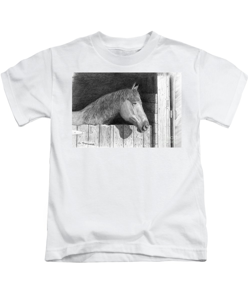 Horse Kids T-Shirt featuring the drawing Dusty by George Sonner