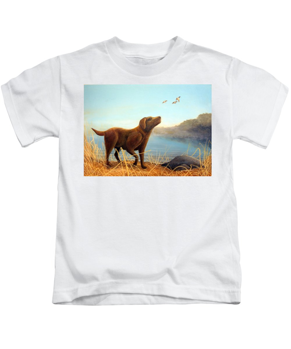 Chocolate Lab Painting Kids T-Shirt featuring the Dutch by Rick Huotari