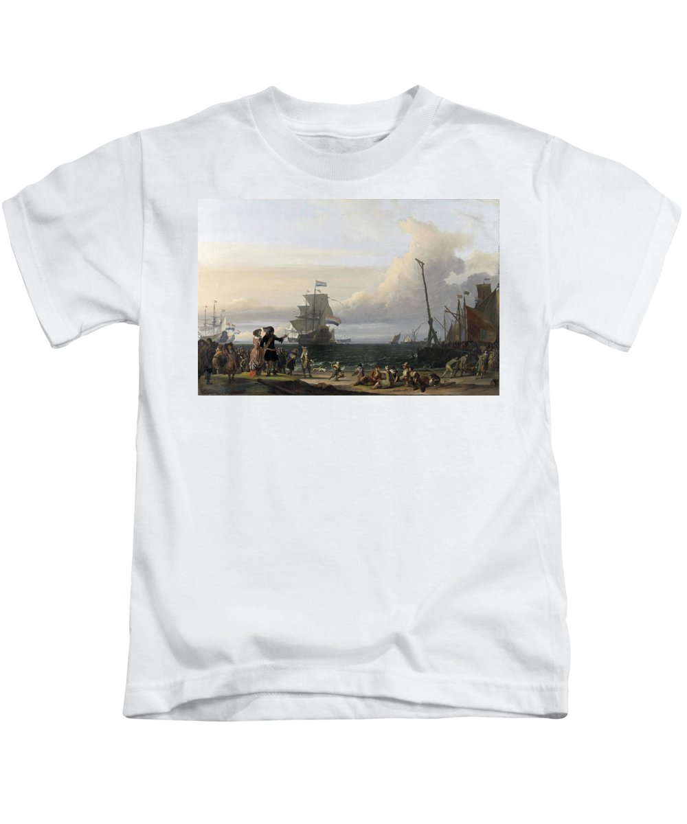Dutch Ships Kids T-Shirt featuring the painting Dutch Ships In The Roads Of Texel by Ludolf Bakhuysen