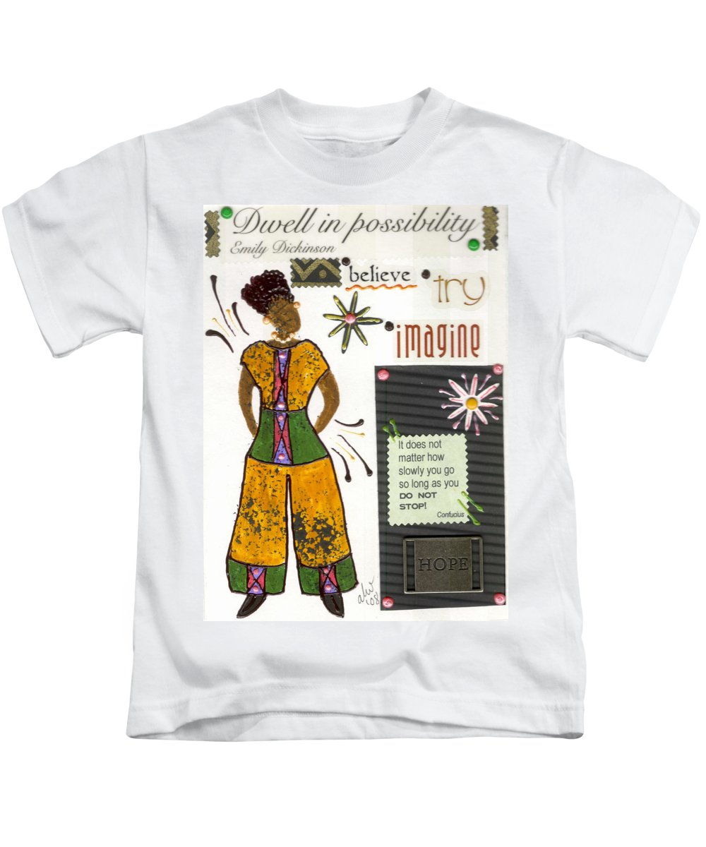 Gretting Cards Kids T-Shirt featuring the mixed media Dwell In Possibility by Angela L Walker