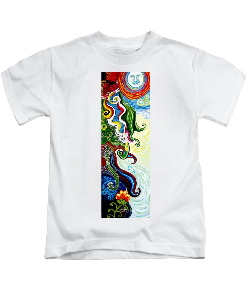 Mother Earth Kids T-Shirt featuring the painting Earths Tears by Genevieve Esson