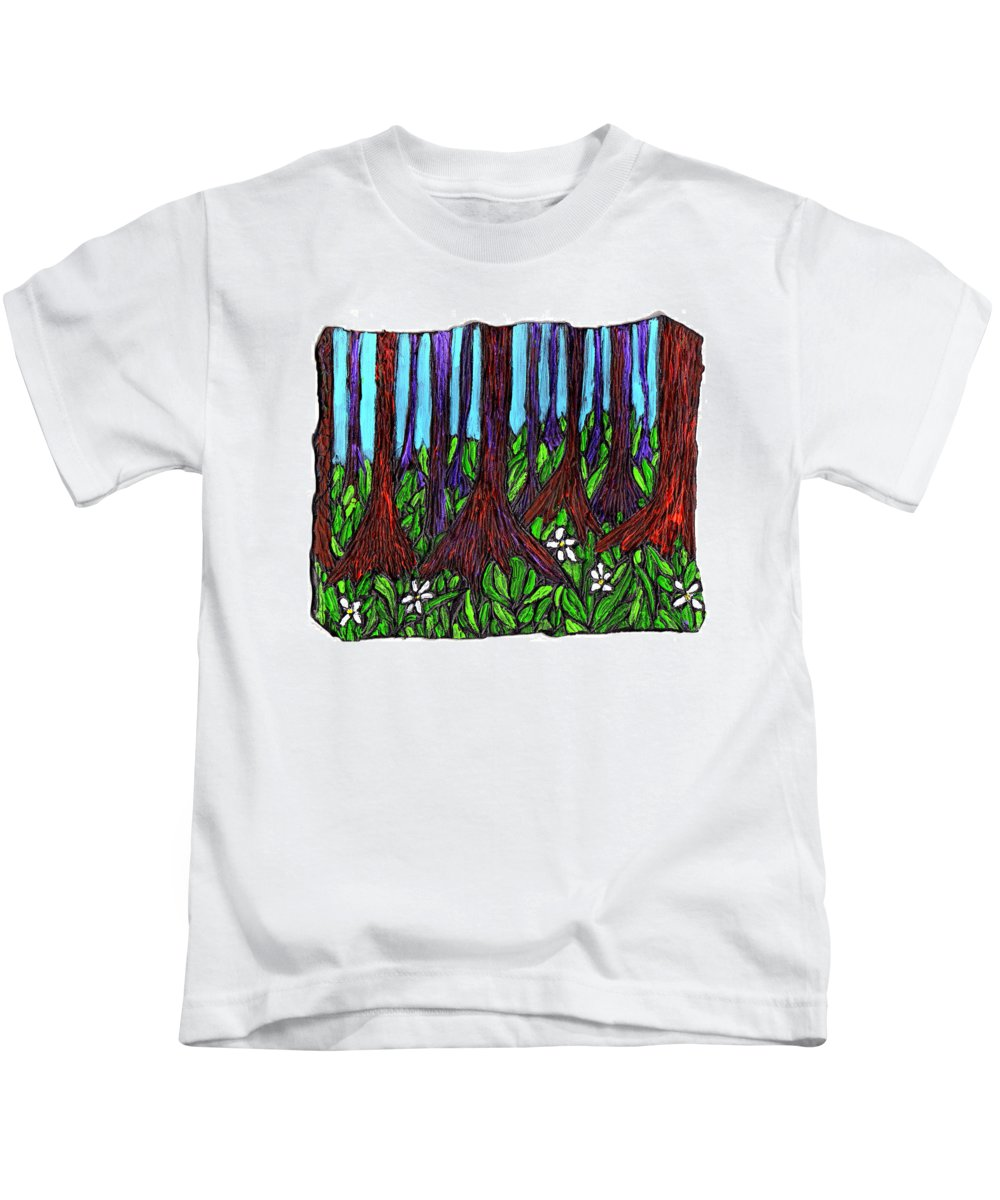 Trees Kids T-Shirt featuring the painting Edge Of The Swamp by Wayne Potrafka