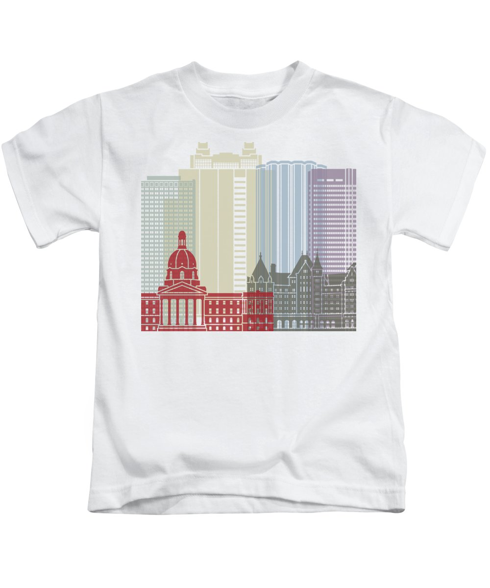 Canada Kids T-Shirt featuring the painting Edmonton Skyline Poster by Pablo Romero