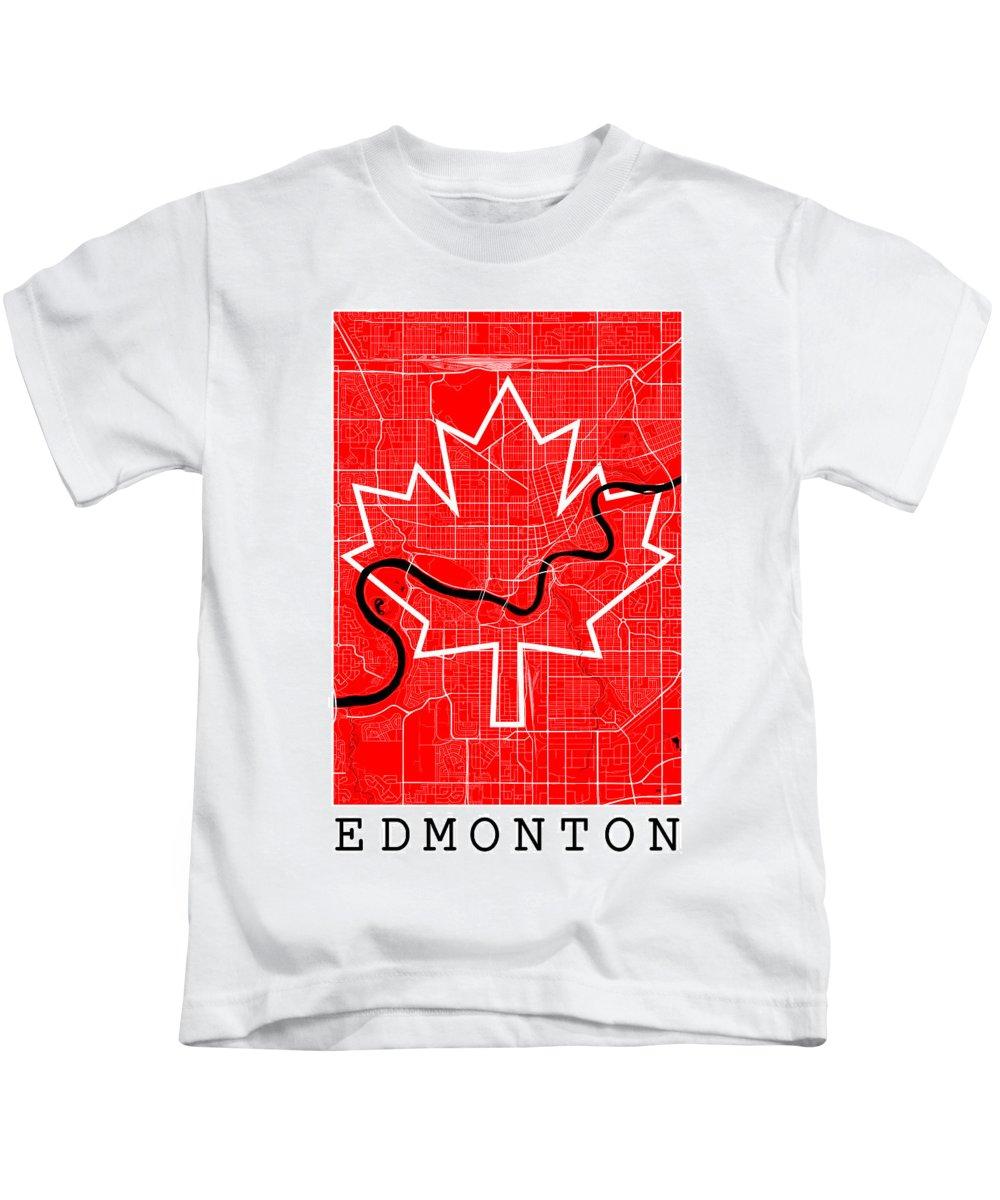 Road Map Kids T-Shirt featuring the digital art Edmonton Street Map - Edmonton Canada Road Map Art On Canada Flag Symbols by Jurq Studio