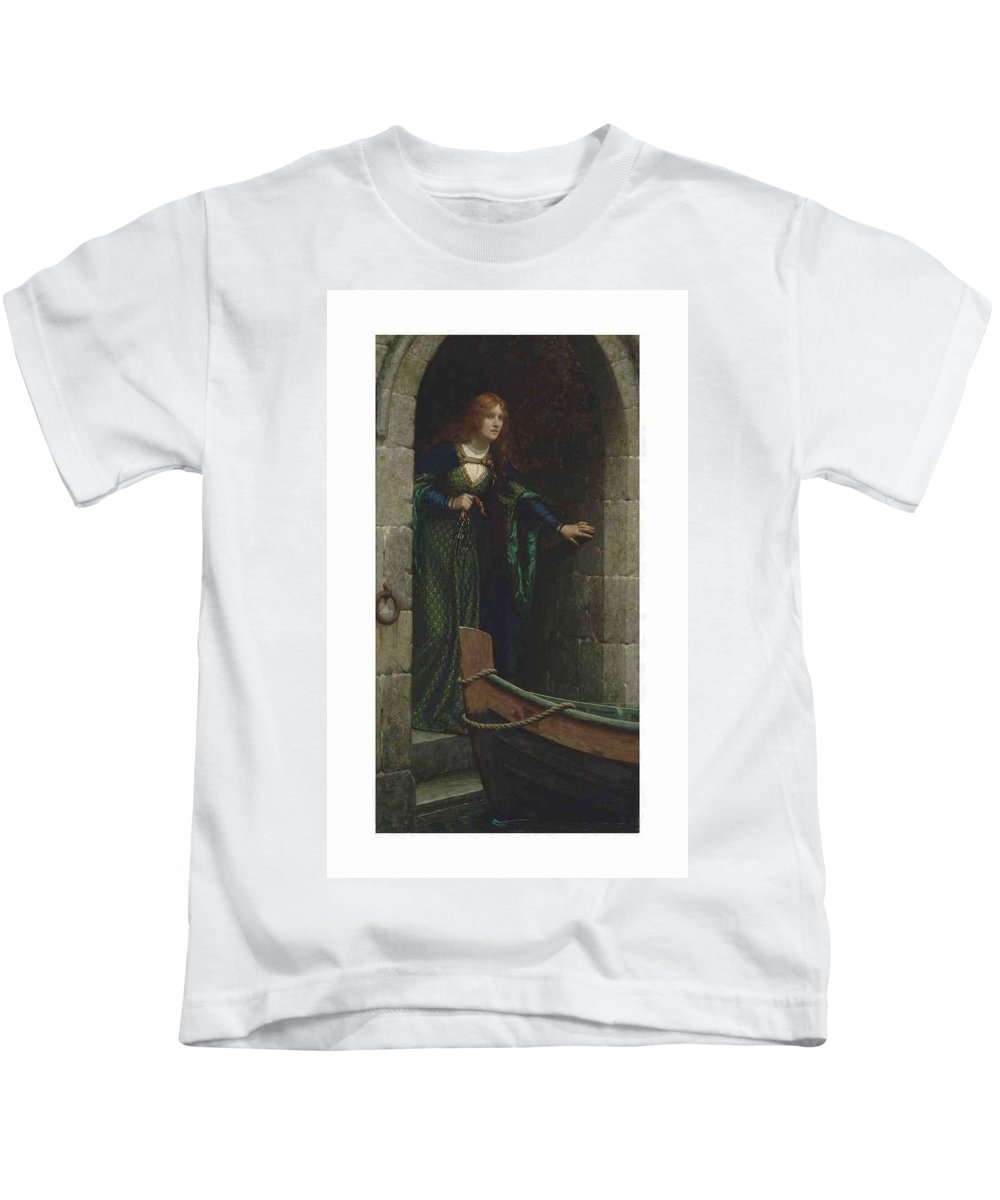 Girl Kids T-Shirt featuring the painting Edmund Blair Leighton 1852-1922 The Keys by Edmund Blair Leighton