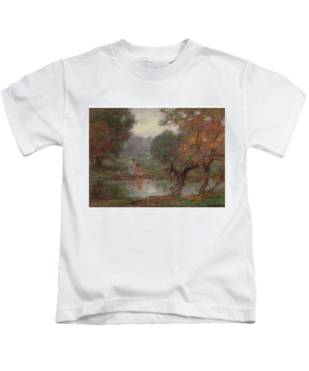 Nature Kids T-Shirt featuring the painting Edward Henry Potthast 1857 - 1927 October Days by Edward Henry Potthast