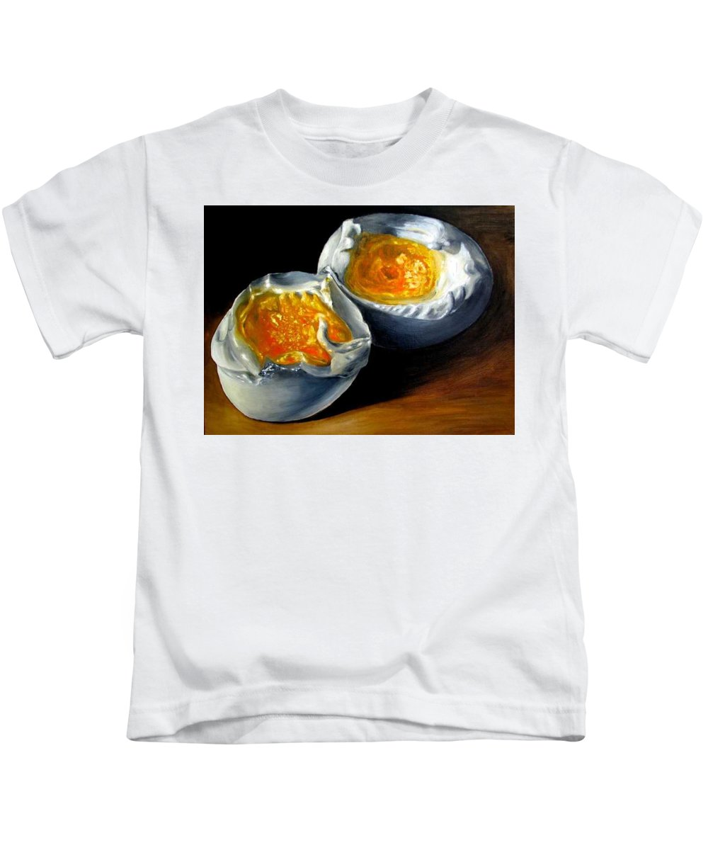 Eggs Kids T-Shirt featuring the painting Eggs Contemporary Oil Painting On Canvas by Natalja Picugina