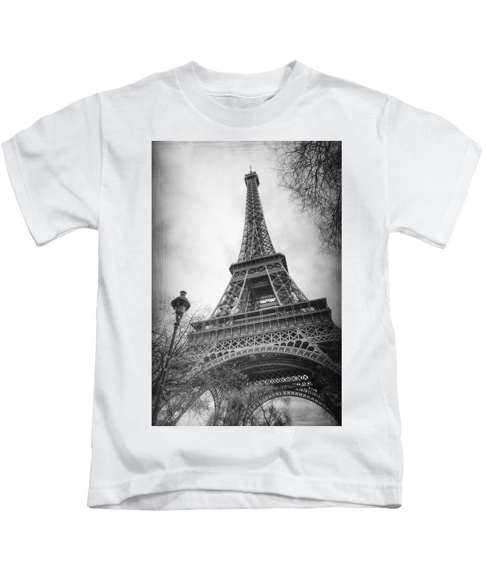 Joan Carroll Kids T-Shirt featuring the photograph Eiffel Tower And Lamp Post Bw by Joan Carroll