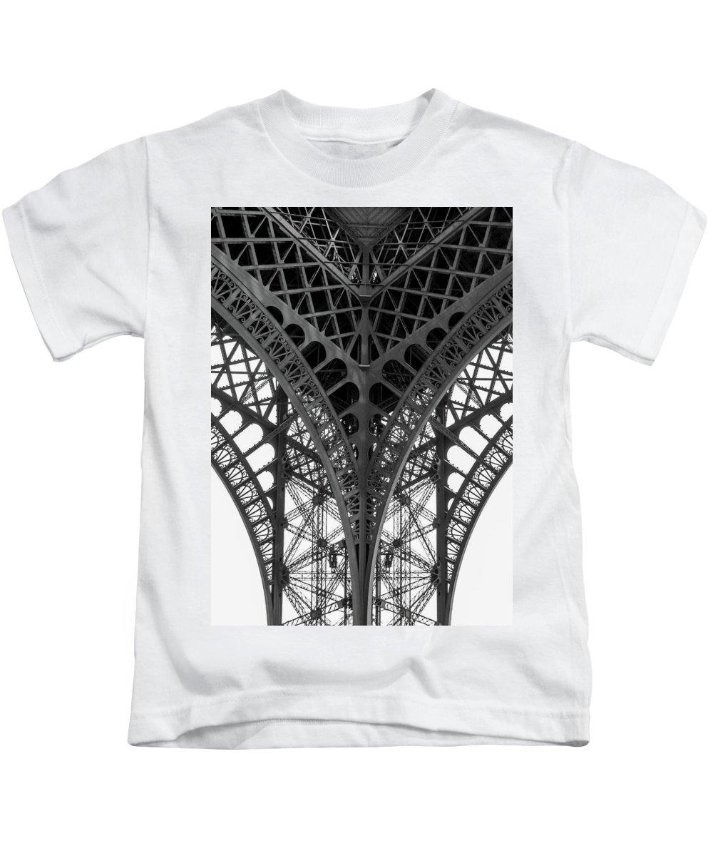 Paris Kids T-Shirt featuring the photograph Eiffel Tower Leg by Hh Vv