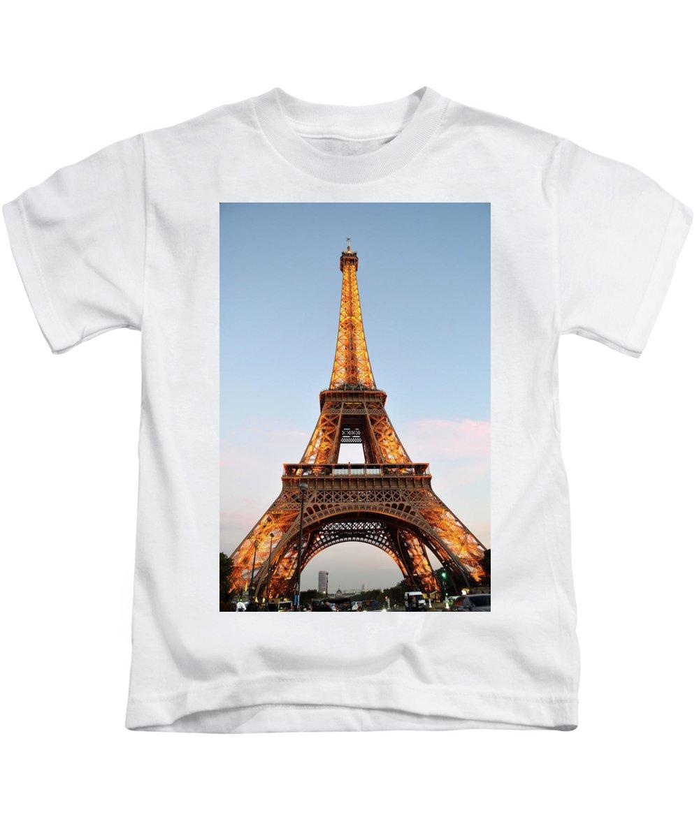 Eiffel Tower Kids T-Shirt featuring the photograph Eiffel Tower Lighted by Dawn Crichton