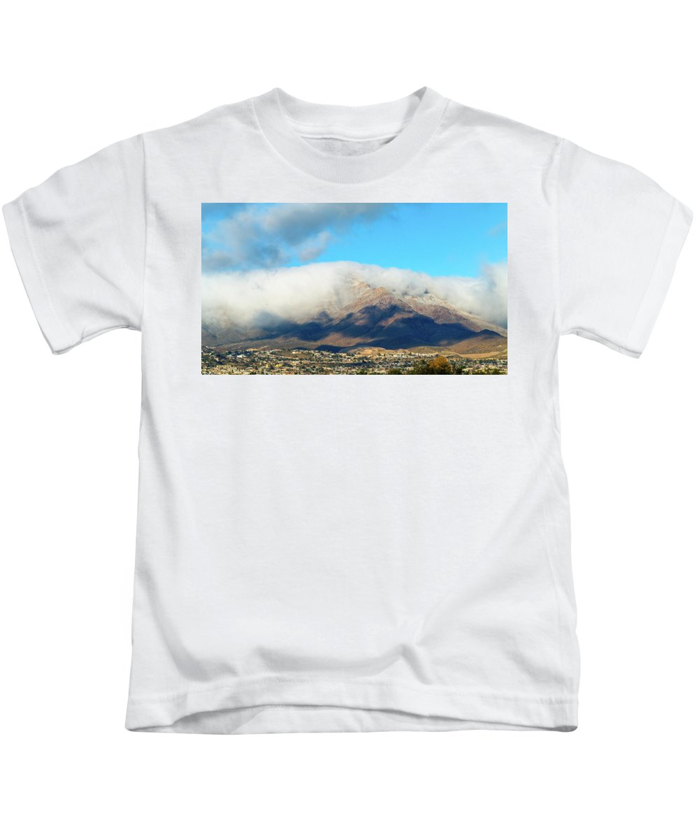 Franklin Mountains Kids T-Shirt featuring the photograph El Paso Franklin Mountains And Low Clouds by SR Green