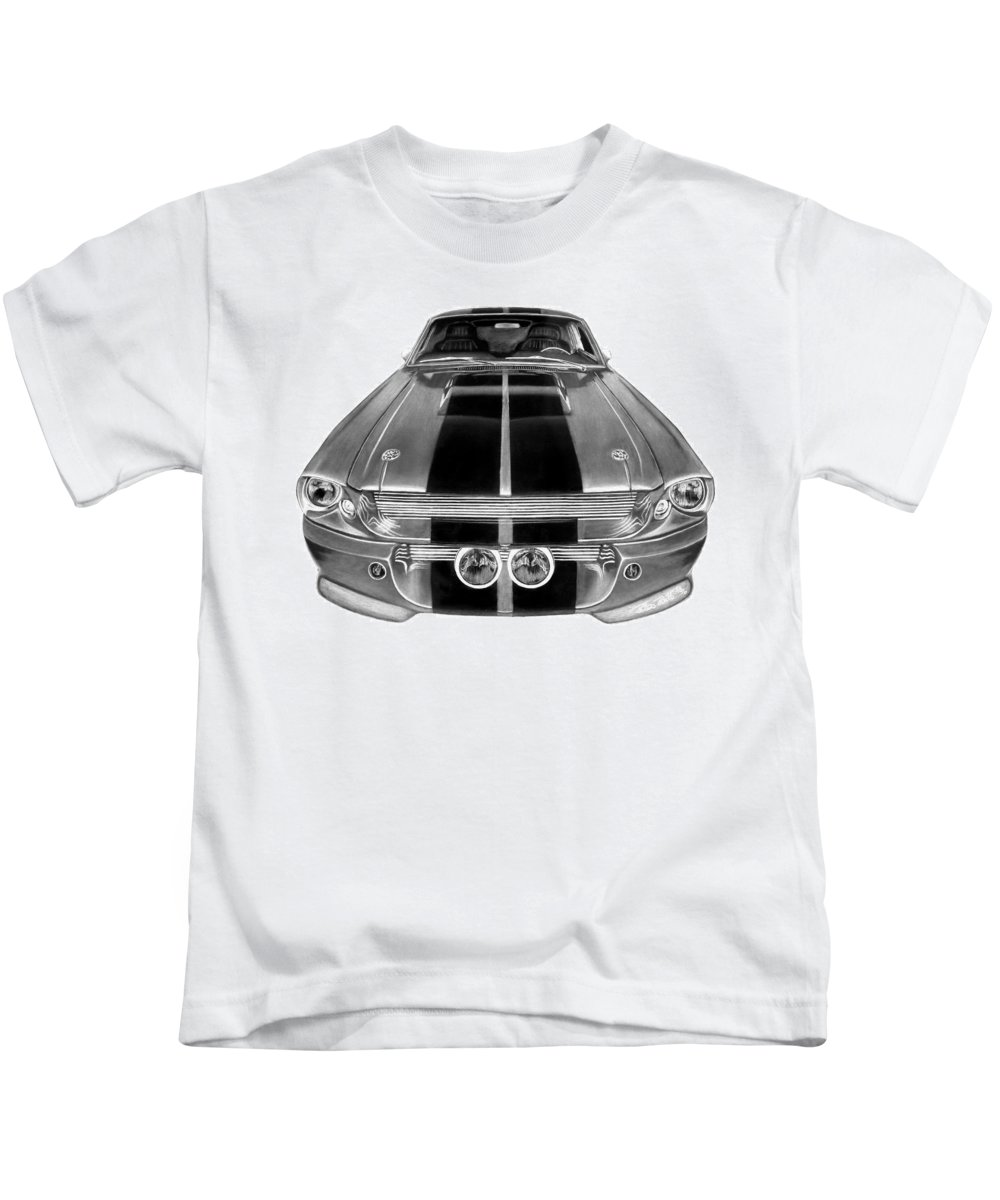 Eleanor Inverted Kids T-Shirt featuring the drawing Eleanor Ford Mustang by Peter Piatt