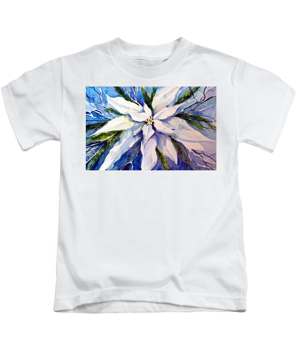 Christmas Kids T-Shirt featuring the painting Elegant White Christmas by Mindy Newman