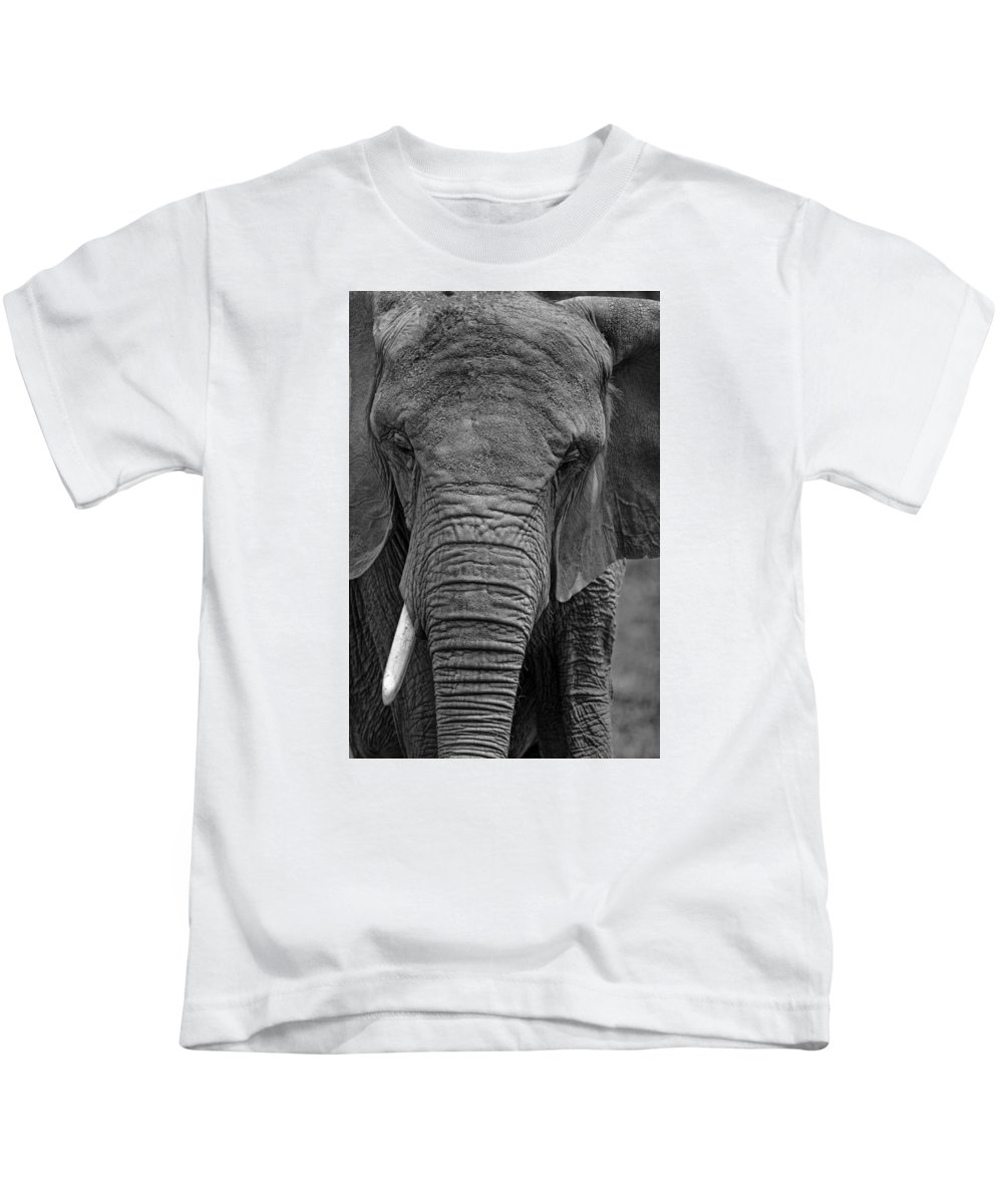 Elephant Kids T-Shirt featuring the photograph Elephant In Black And White by Matt Plyler