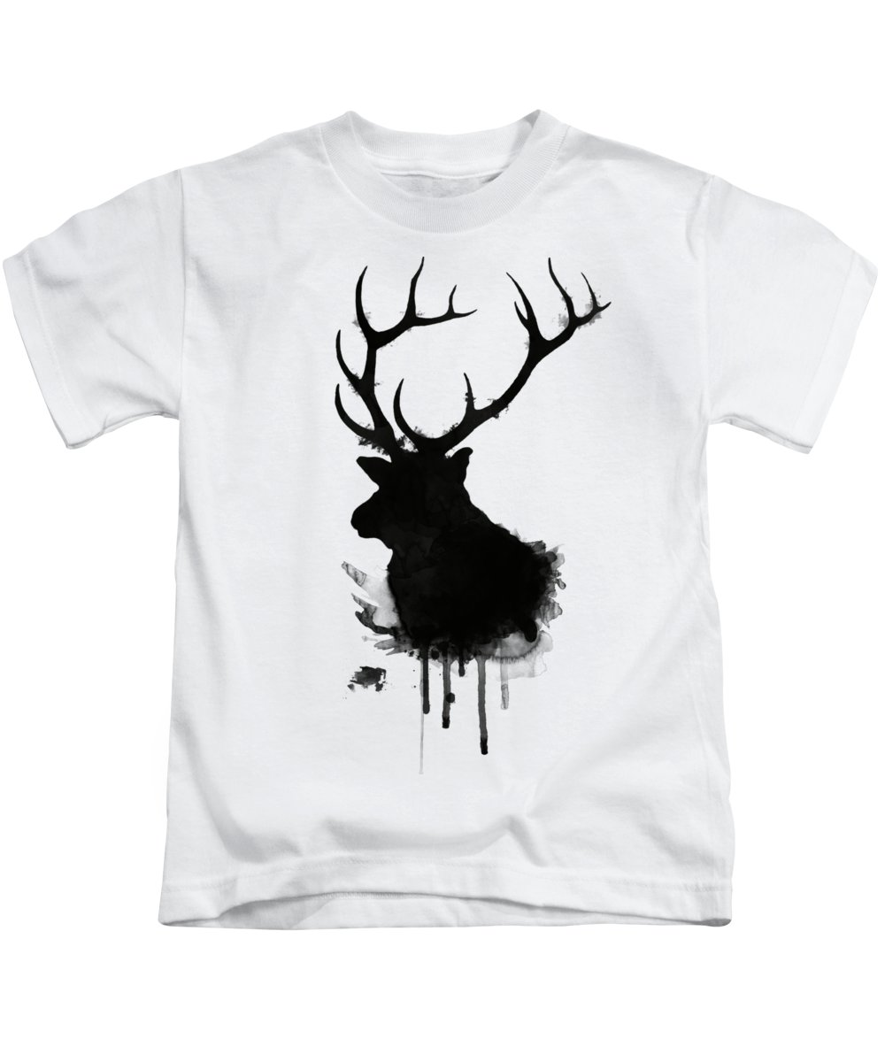 Elk Kids T-Shirt featuring the drawing Elk by Nicklas Gustafsson