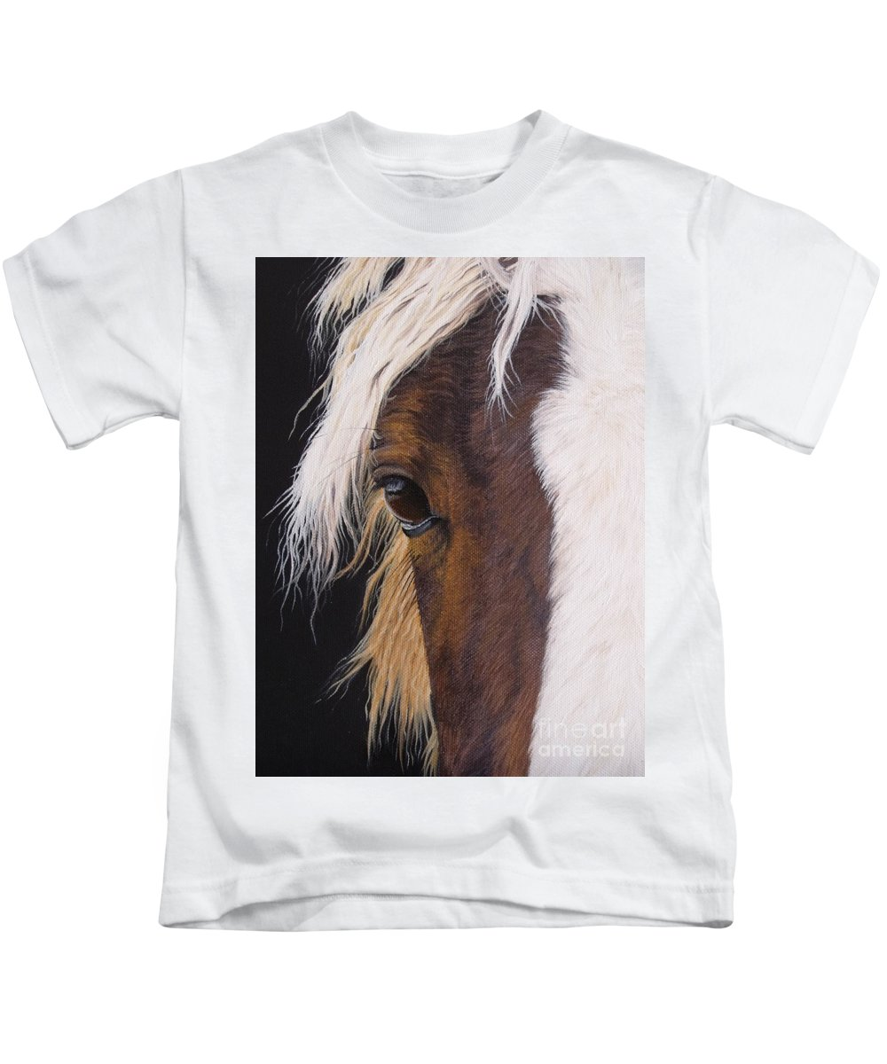 Portrait Kids T-Shirt featuring the painting Ellroy by Pauline Sharp