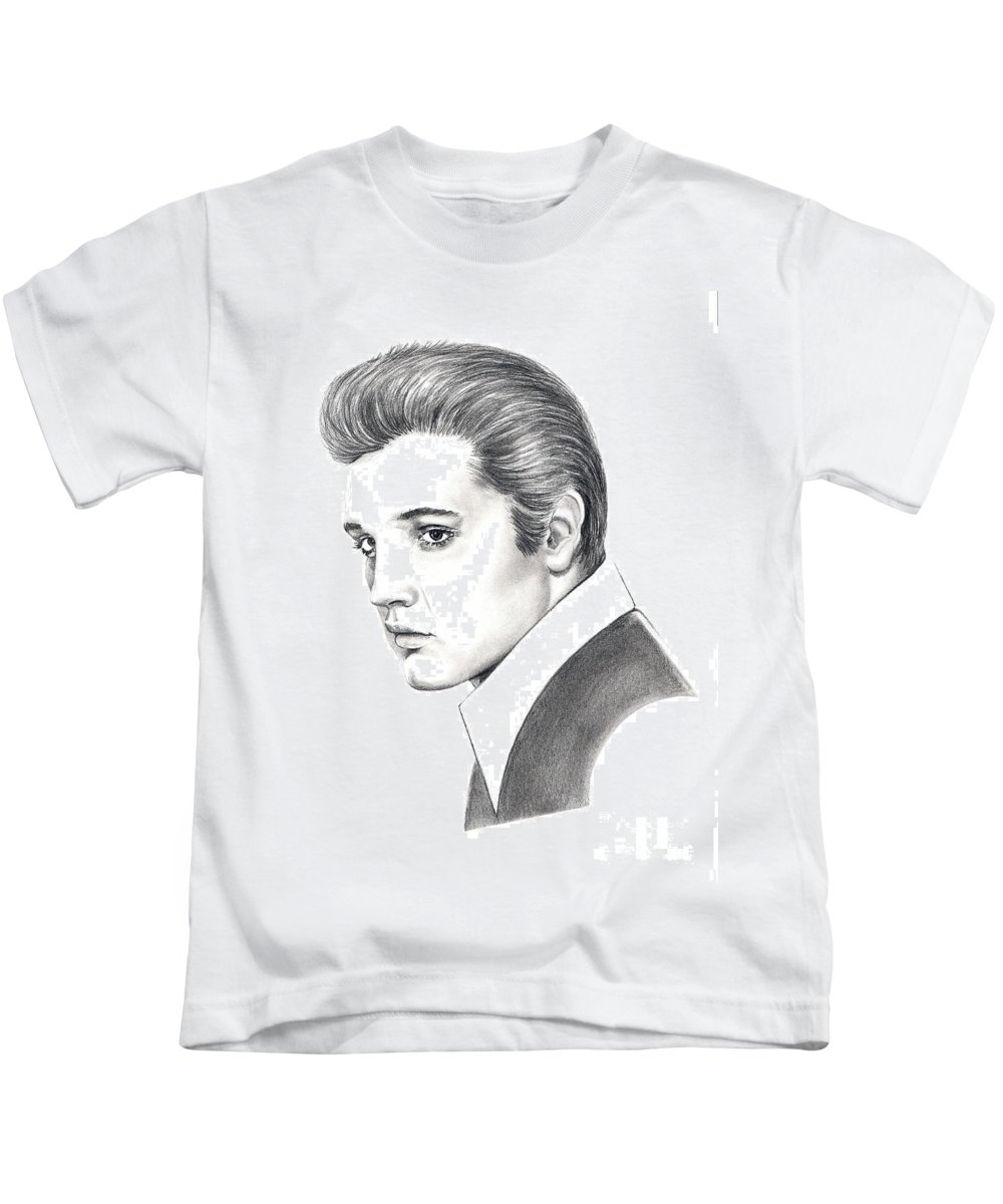 Pencil. Portrait Kids T-Shirt featuring the drawing Elvis Presley by Murphy Elliott