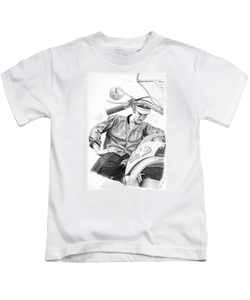 Singer Kids T-Shirt featuring the drawing Elvis Presley by Rob De Vries