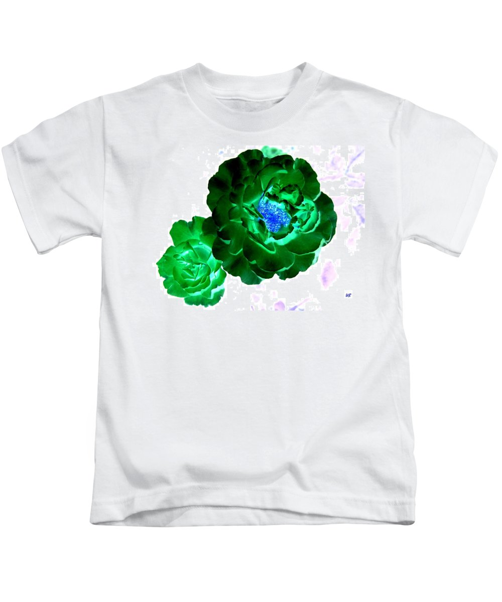 Rose Kids T-Shirt featuring the digital art Emerald Rose by Will Borden